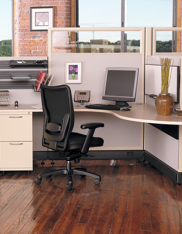 AO2 office furniture by AIS brand cubicles with glass and curved corner with storage cabinets