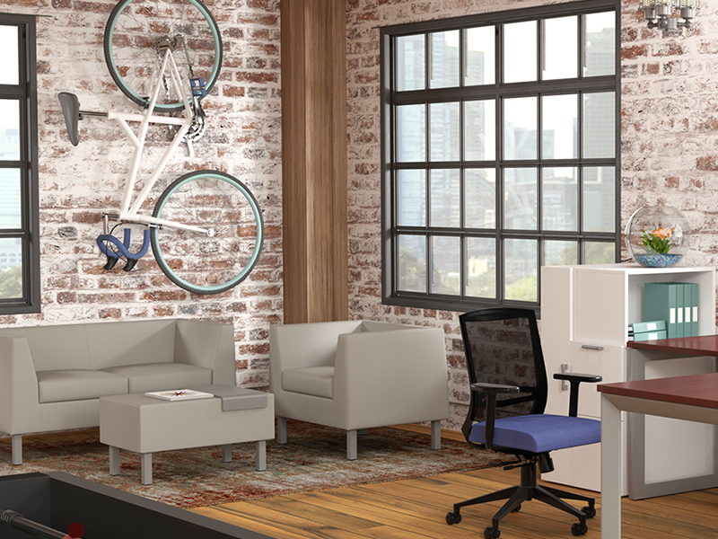 office lounge seating Comel Zoey brand series sofa and side chair with reception area and desk chair