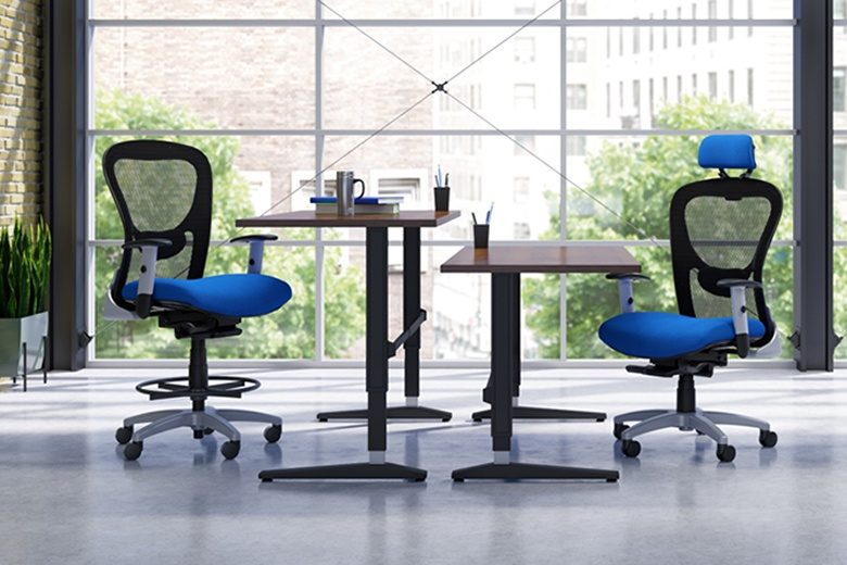 adjustable height desk with ergonomic seating chairs and sit stand work stations
